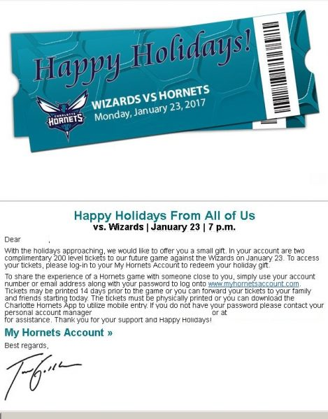 Free Seats Night Email from Charlotte Hornets