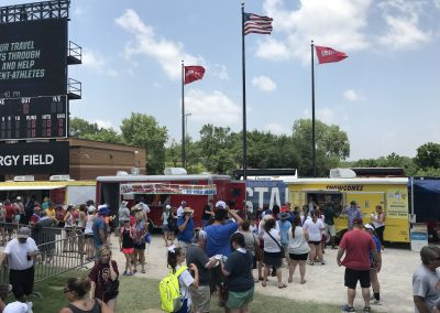 OGE Energy Field at the USA Softball Hall of Fame Complex, Food Trucks behind Outfield Bleachers