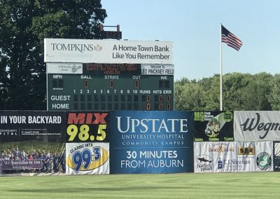 Leo Pinckney Field at Falcon Park, Scoreboard and Outfield Wall