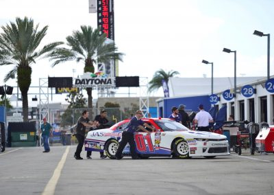 Daytona International Speedway, Cars Heading into the Garage