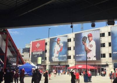 Graphics of Nationals Players on Parking Garage