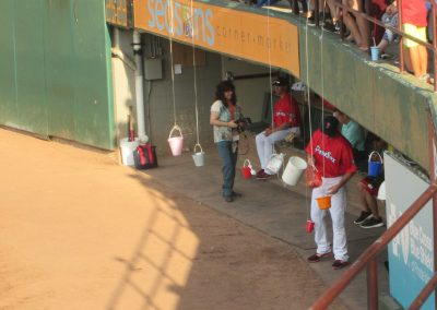 Fishing for Autographs at McCoy Stadium
