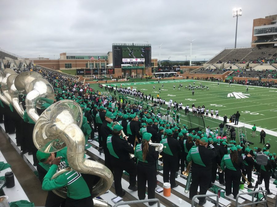 Apogee Stadium, Game Action behind North Texas' Green Brigade Marching Band