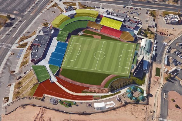 An artist's version of what the soccer pitch will look like at Isotopes Park