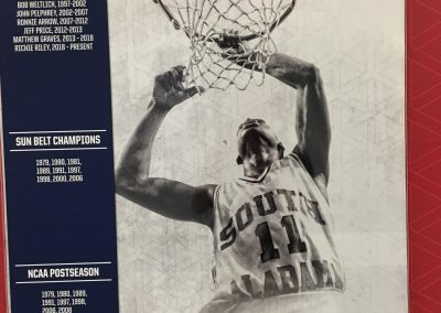 Mitchell Center, Close-up of USA Jaguars Basketball History Display